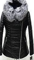 Куртка из эко-кожи на верблюжьей шерсти с капюшоном длина 72 см с мехом чернобурки 42р 44р 46р 48р