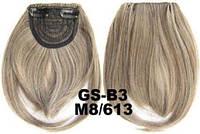 Накладная челка на клипсах из искусственных волос 8-613 мелированный пепельный русый, фото 1