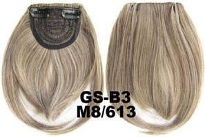 Накладная челка на клипсах из искусственных волос 8-613 мелированный пепельный русый