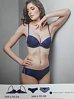 Комплект женского белья Испания: бюстгальтер(75C) push-up balconet L771 + бразилианы(M), синий, Luna