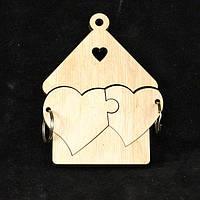 """Деревянная ключница """"Два сердца""""домик с сердечком.ключница из дерева"""