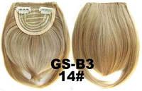 Накладная челка на клипсах из искусственных волос 14 золотистый блонд, фото 1