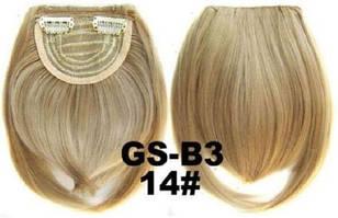 Накладная челка на клипсах из искусственных волос 14 золотистый блонд
