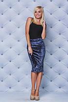 Велюровая юбка - футляр  т-синяя, фото 2