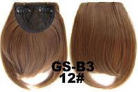 Накладная челка на клипсах из искусственных волос 12 рыжевато-русый, фото 1