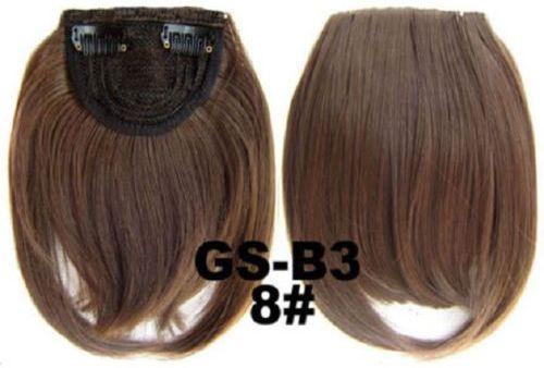Накладная челка на клипсах из искусственных волос 8 русый