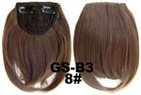 Накладная челка на клипсах из искусственных волос 8 русый, фото 1