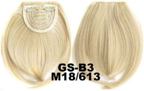 Накладная челка на клипсах из искусственных волос 18-613 мелированный блонд