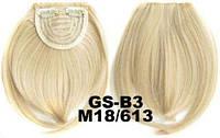 Накладная челка на клипсах из искусственных волос 18-613 мелированный блонд, фото 1
