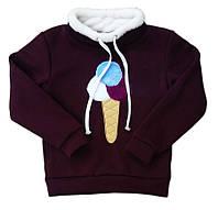 Стильный теплый свитшот для девочки Мороженое