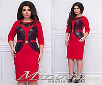 Модное платье по колено с эко-кожей и гипюром 48+, фото 1