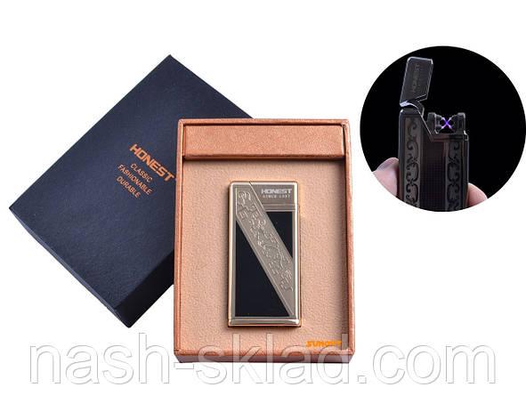 """USB зажигалка в подарочной упаковке """"Honest"""" (Электроимпульсная - две перекрещенные молнии), фото 2"""
