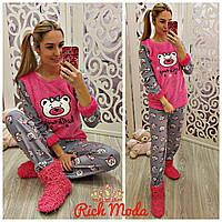 Женский теплый домашний костюм пижама на флисе+повязка для сна р.S (42-44),M (46-48),L (48-50)
