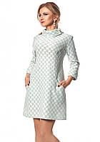 Теплое платье бутылочного цвета с длинным рукавом, коллекция осень-зима 2017-2018. Модель 1029