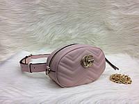 Модная сумка-ремень на пояс или через плечо Gucci Гуччи розовая