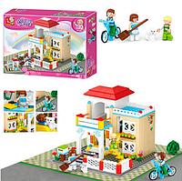 """Конструктор """"SLUBAN"""" загородный.дом, фигурки, кошка, велосипед, 380 деталей.Детский конструктор для девочек."""