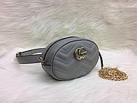 Модная сумка-ремень на пояс или через плечо Gucci Гуччи серая