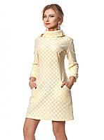 Теплое платье желтого цвета с карманами, коллекция зима 2017-2018. Модель 1029