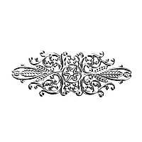 Кабошон, Украшение лист, Металл, Серебряный тон, Ажурный цветок с узором, 85 мм x 34 мм