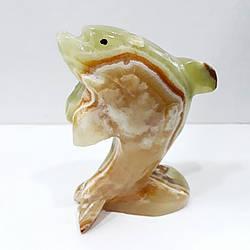 Дельфин из натурального оникса 14 х 8 см