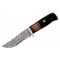 Нож охотничий из дамасской стали Бурый Медведь, ручная работа, кожаный чехол в комплекте, упор под палец