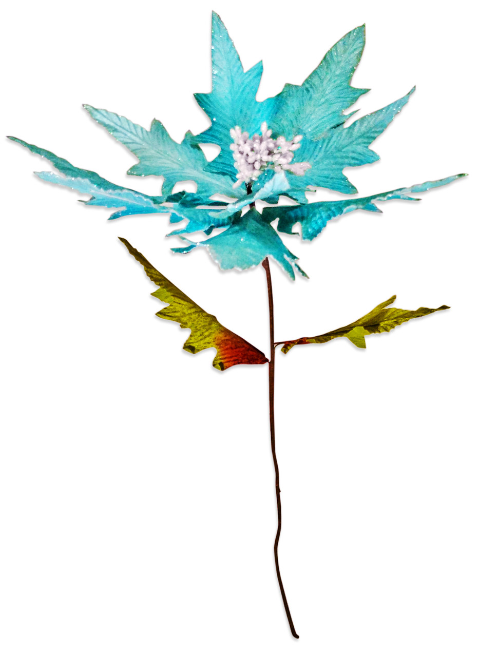 Декоративный новогодний цветок пуансетия 100см