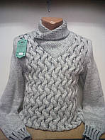 Мужской теплый свитер,джемпер под горло. Мужская кофта вязаная