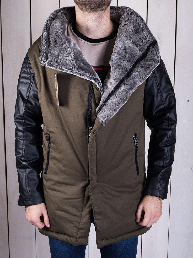 Парка зимняя мужская (коричневая с кожаными рукавами)