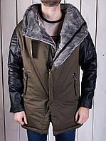 Парка зимняя мужская (коричневая с кожаными рукавами), фото 1