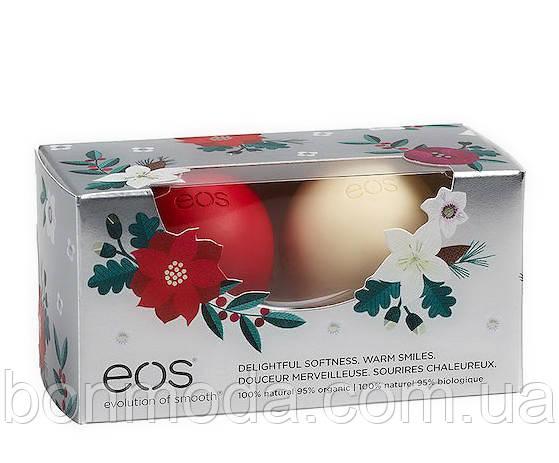 """Бальзам для губ EOS Holiday """"Зимняя ягода + Ваниль"""" Лимитированный новогодний набор из 2 шт (США)"""