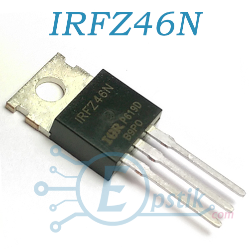 IRFZ46N, MOSFET транзистор, N-канал, 50V, 50A, TO220