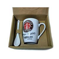 Чашка керамическая кружка Starbucks набор с ложкой