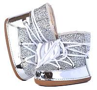 Дутики женские луноходы серебристые металлик Moon Boots Silver с блестками, размер 37