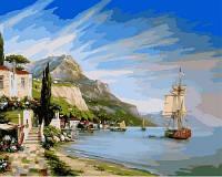 """Картина раскраска по номерам """"Итальянская бухта"""" набор для рисования"""