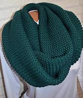 Снуд шарф хомут вязаный (зеленый)