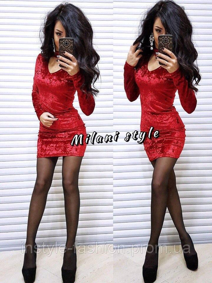 Женское платье мини ткань мраморный велюр красное