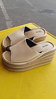 Женская летняя обувь на танкетке беж