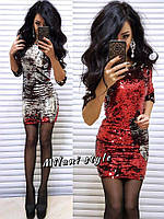 Женское красивое платье из двухсторонней паетки ткань паетка + микромасло красное