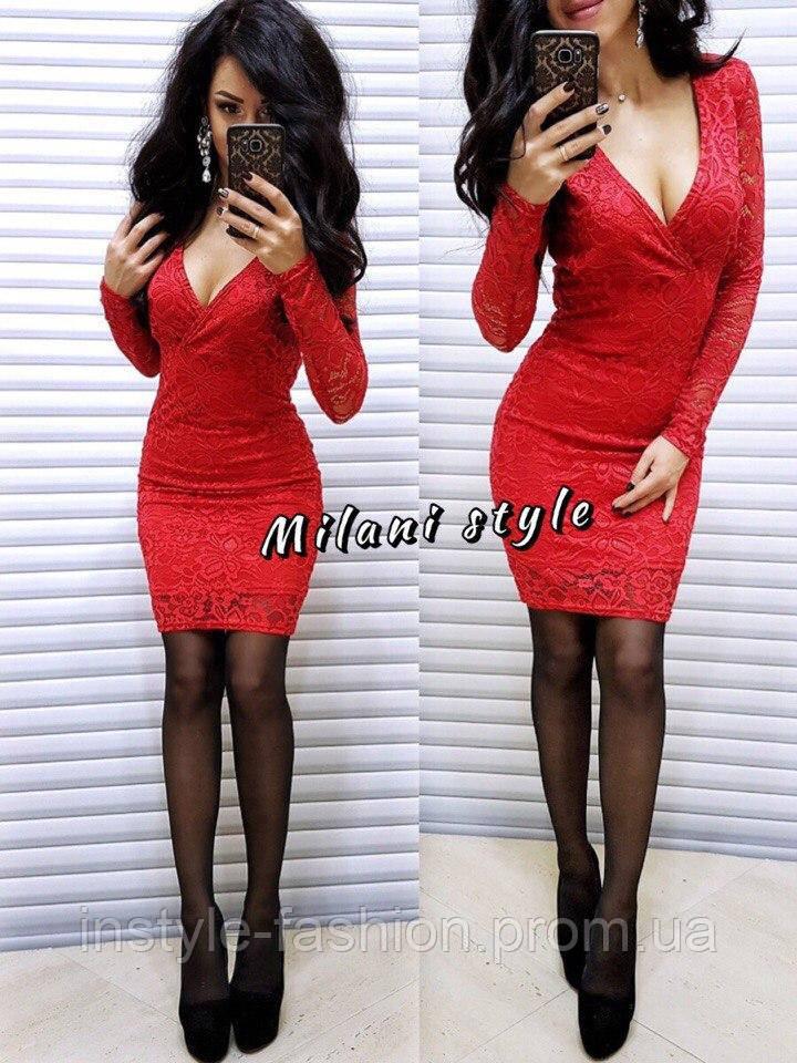 Женское гипюровое платье ткань дайвинг+ гипюр красное