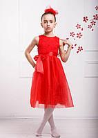 """Детское нарядное платье """"Венеция"""" для девочки 5, 7 лет (размер 110, 122) ТМ Sofia Shelest Красный"""