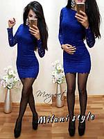 Женское короткое гипюровое платье ткань дайвинг+ гипюр синее
