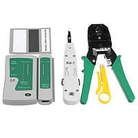 RJ45 RJ11 RJ12 Cat5e 6 LAN Телефонная сеть передачи данных Инструмент Комплект+Модульный штекер+кабельный тестер