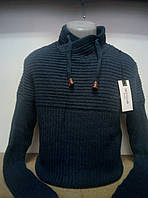 Мужской теплый свитер под горло. Мужская кофта вязаная