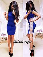 Женское стильное платье с разрезами ткань плотный джерси синее