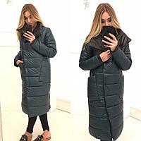 Женское длинное пальто на синтепоне