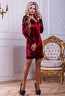 Соблазнительное Велюровое Платье Мини с Кружевом Марсала