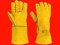 Жёлтые спилковые краги пятипалые Doloni-4507