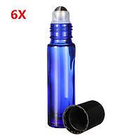 6 штук 10 мл Cobalt Blue Glass Roll на Essential Масло Бутылка многоразового использования Ролик Бал с каплями