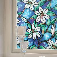 KCASA G001 45cmX200cm Современный цветок Шаблон Стеклянные наклейки Ванная комната Балкон Раздвижные двери Матовые стекла 3D наклейки