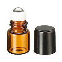 1 мл Пустой янтарный стеклянный рулон на бутылке многоразового металла Ролик Бал Essential Масло Жидкая бутылка